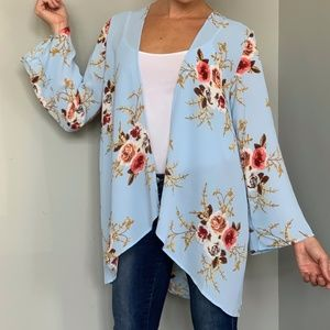 Sweaters - NEW SM Light Blue Floral Pattern Kimono Cover-Up